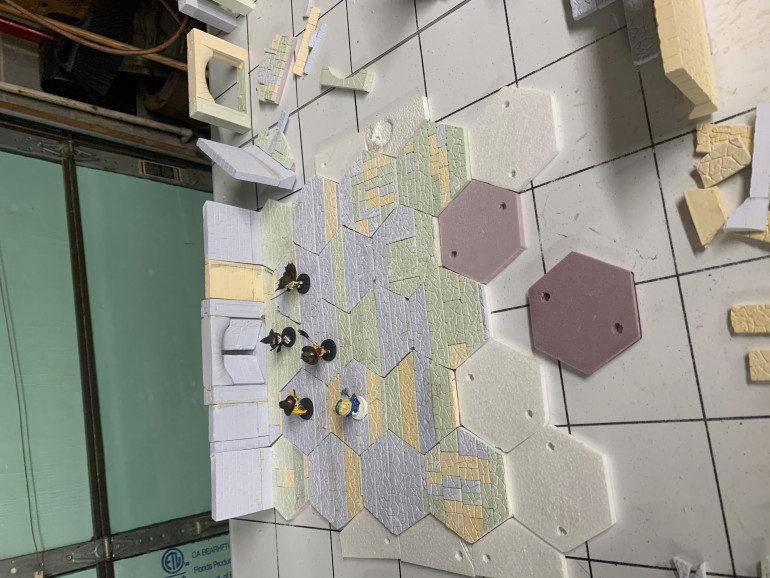 And we now come to yesterday where the basic hexes are nearly done and the walls are under way.