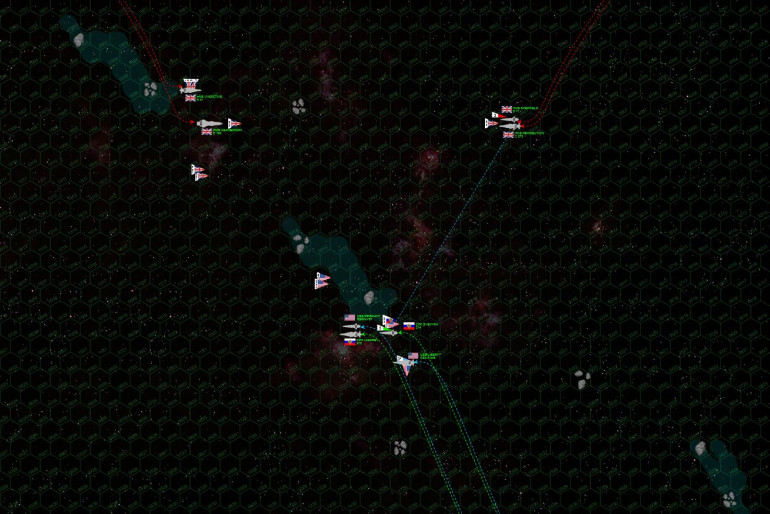 """The two sides make their initial approach.  The British start off with a novel attack, closing from two sides of the board to cover both main """"gaps"""" in the comet gas/debris tail through which the Coalition may strike.  As it turns out, the Coalition doesn't push through either of these gaps, instead using the """"spaceberg"""" ice fields and trails of ionized gas to hide most of their ships from the big guns of HMS Agamemnon and Retribution.  This works for all the Coalition ships except the carrier USS Liberty, which is positively drilled by pinpoint, long-ranged laser, syglex, and rail gun fire from the light cruiser Retribution and destroyer Sheffield.  In fact, the aft hangars of the Liberty are hit, just moments after the last of her bombers launch.   Reactors, maneuvering thrusters, troop bays, and without guns of her own, the Liberty cannot respond at the moment, protected only by the smaller guns aboard the Russian destroyer Syekyra.  After all, while the Lazarev and Oriskany are screened from British fire, this also means they can't fire in return."""