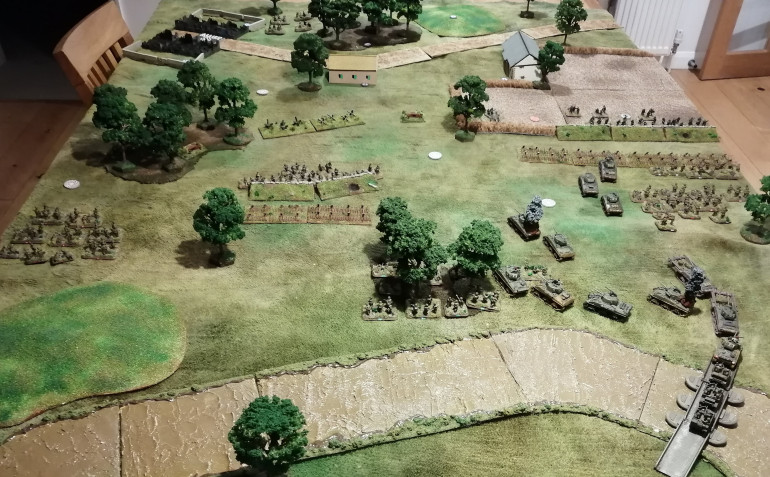 The state of play as seen from the Allied perspective. Note the forces massing for the attack on the right flank and the infantry trying to 'sneak' up the left