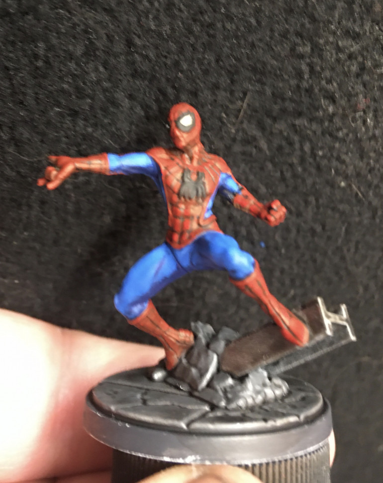 Turns out it's a pain to highlight Spidey's red bits up what with all that webbing pattern. Still a ways to go to make hime pop.