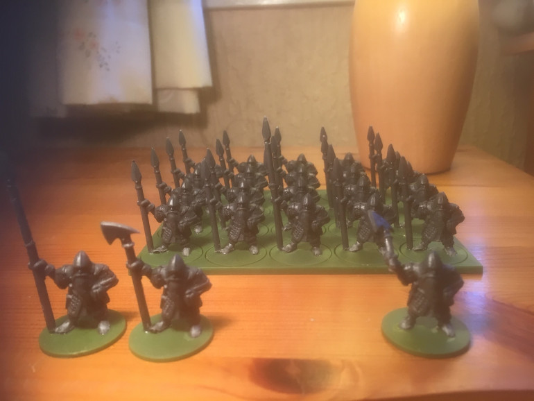 Full 20 man unit with banner, character and personnal standard-bearer. Also a dwarf with an axe.