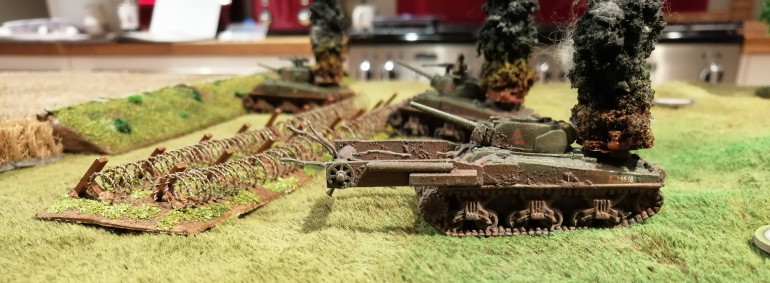 The 1st Canadian Armoured Brigade lost a number of tanks during the assault