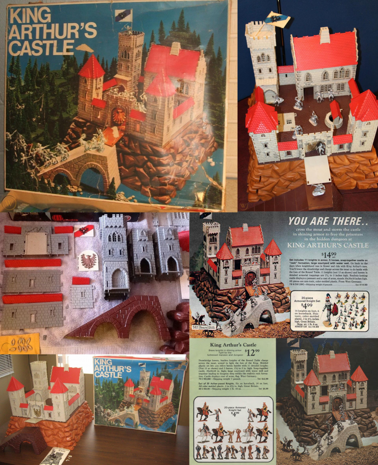 Here's a bunch of images I found on the internet of the Jean Hoefler 1970s King Arthur's Castle. The one I bought from my brother don't have all the parts, but the parts that are missing like the big base it stands on is not something I need. :) But its one big epic toy, that I know I would have loved as a child!