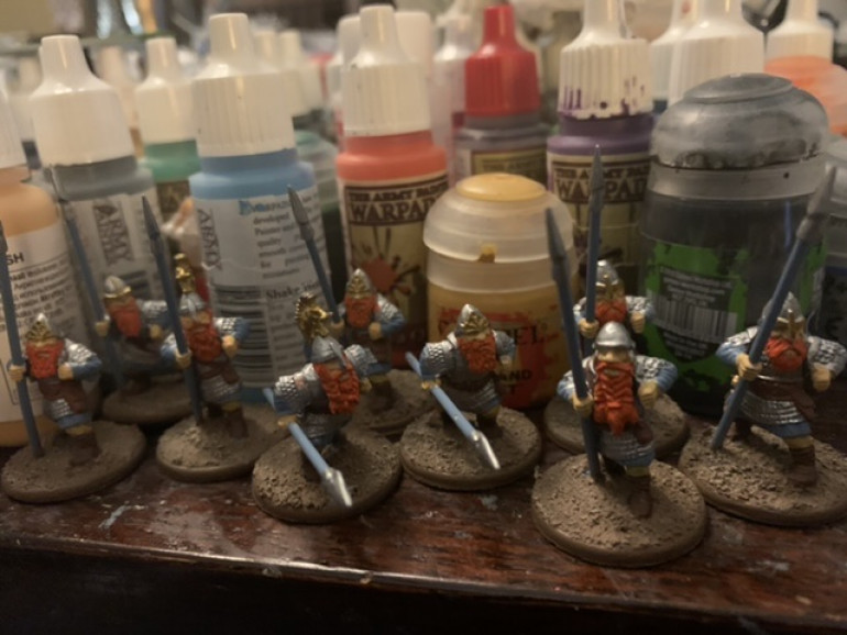 Th beards were the next to last base color laid in. The last color will be the Wolf Gray and that should just be a few touch ups on the spear and some of the cloth.