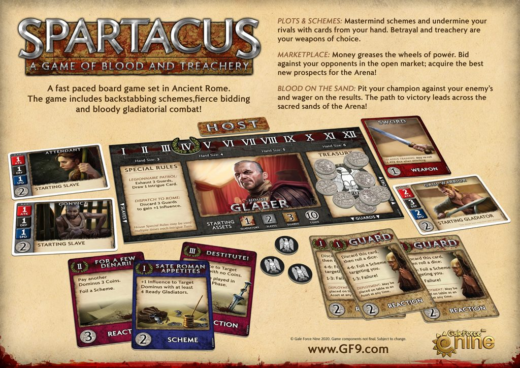Spartacus Game Layout - Gale Force Nine
