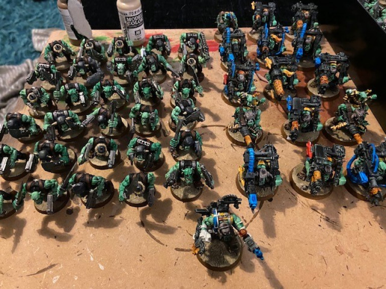 30 Goff boys, 15 Lootas and 1 Big Mek (mek needs finishing)