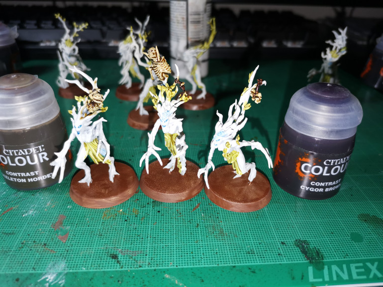 Next use Skeleton Bone for the bones and Cygor Brown for any straps or leather which is usually on or around the bones. These colours are also good for painting the owl. I found the Cygor Brown to have very strong pigmentation so it didn't always show highlights like contrasts are meant to, I would recomend applying this thinly.