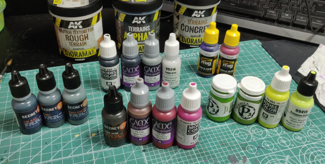 All paints used so far (except for  primers) (also ignore the AK textures, I haven't worked out my basing yet)