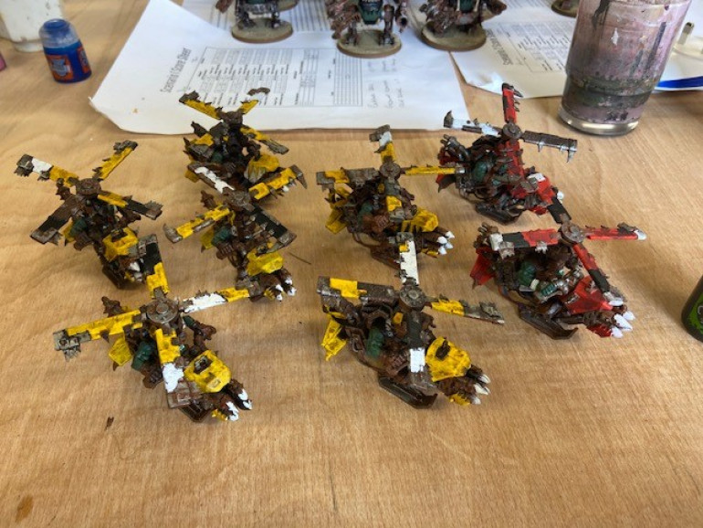 Bad Moons Koptas along side a couple of Evil Sunz ones. It was massively easier painting red over base brown then it was to do Yellow, which took around 3 coats!