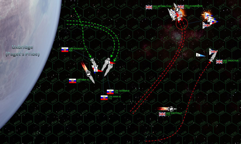 """The Russians turn hard toward the British, but the Agamemnon (the fastest heavy cruiser in currently in the Darkstar 'verse) accelerates to 27 kilometers per second and pivots out of the way, along with her escort ship (light cruiser HMS Retribution).  The Vindictive powers away from the planet, perhaps hoping to recover her surviving bombers (one has been lost) in peace.  But she actually moves too fast, trying to get herself clear of the Russian broadsides.  While she succeeds at this, she's actually moving faster than the hapless bombers trying to land.  Meanwhile, the Russian carrier Volkhov recovers her ten Tupolev Tu-97 """"Zvesburya"""" (Star Storm) bombers, the hanger crews feverishly beginning preparations for a second launch and strike.  The Russian Mikoyan-Guyevich MiG-103 """"Tunguska"""" fighters, meanwhile, make a nigh-suicidal strafing run on the badly-damaged and unshielded stern of the Agamemnon.  Five are shot down, but their gunnery, combined with another smaller wave of P-500s, is enough to knock down the Agamemnon's engines and leave the British flagship dead in space.  ADVANTAGE: RUSSIANS"""