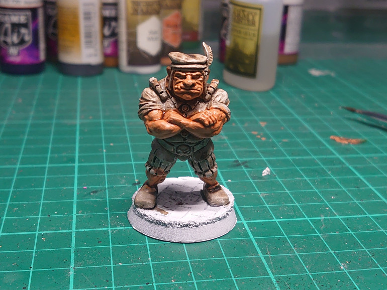 Started work on Leopold, first up some Army Painter barbarian flesh, followed by some Army Painter flesh wash.