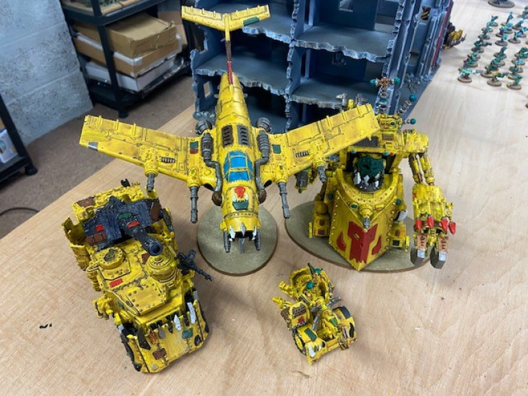 Dakka jet, Morkanaut and Battle wagon all finished using Fiat Broom Yellow as a base coat. Mek Gun is still in progress...