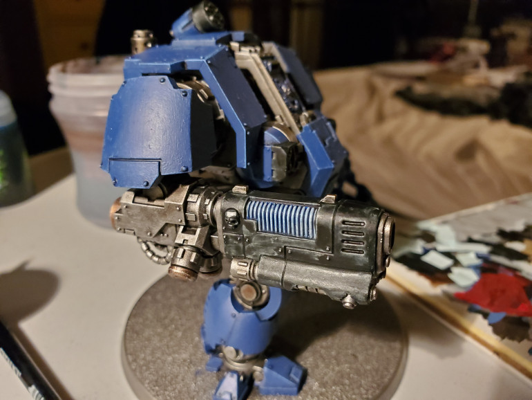 Then a glaze of Guillaman Blue across the whole thing. I think I did two coats. Then, just to add that little extra I gave the coils a coat of 'Ardcoat gloss varnish.