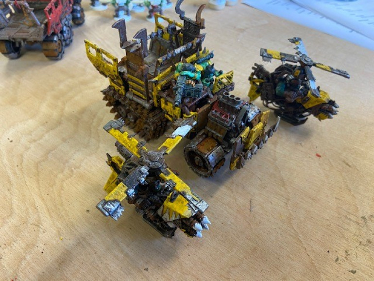 Trukk And Deffkoptas have more worky bits on show then the others so got a rust brown base instead of yellow.