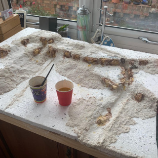 Sculpting, painting and grouting