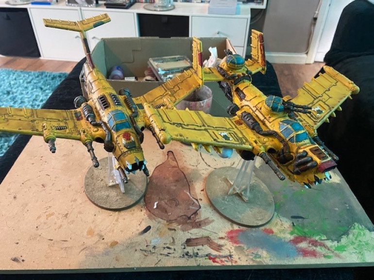 Bomma and Dakka Jet comparison. Painted 12 months apart, I think I got the colour scheme replicated pretty well.