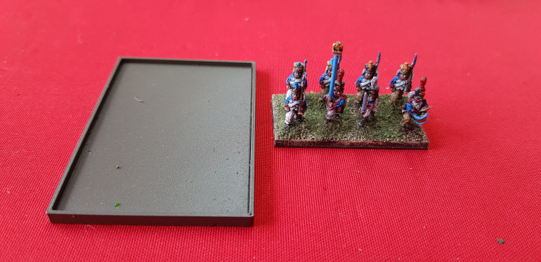 No painting yesterday but I knocked up these lipped sabot bases. They have had a magnetic layer put in the bottom and the troops have been magnetized. Only done for columns at the moment but being French they will probably spend most of the game that way.