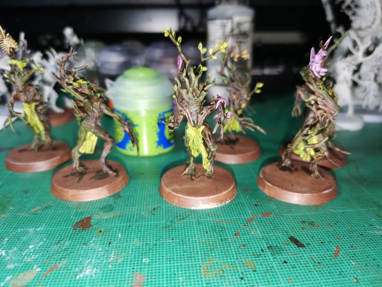 I drybrush moot green over the leaves and vines, this can be done fairly rough as it gives a gradient from yellow to green. I then drybrush the bark with Mootgreen to give a mossy effect, especially where there are more creases like at elbow joints. (Bonus tip - try stipling)
