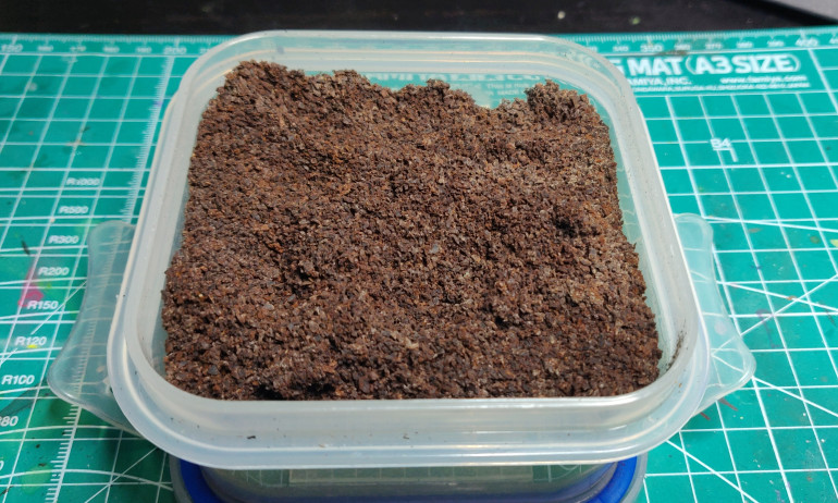 Dried out coffee grounds, make your coffee as usual, then save the grounds, spread on a baking sheet and dry thoroughly in a low temperature oven for about 45 minutes. Then spread onto kitchen towel to absorb any remaining moisture, store in a sealed tub