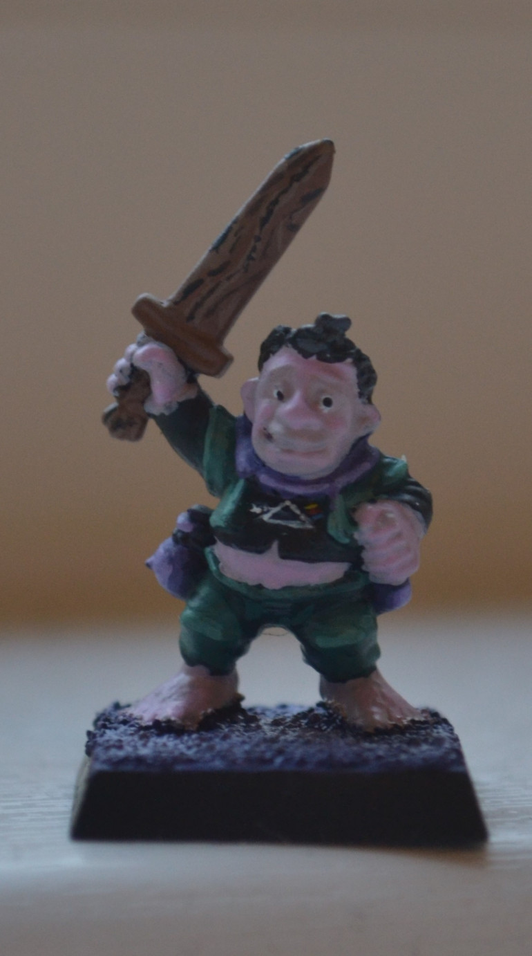 I told someone today that I was painting this model, I said Warhammerquest plastic halfling, they said if it was a plastic halfling then it probably wasn't from quest. I could, or even probably should of spent a little more time on him then I did but I just wanted to get another model completed, so here he is with a little freehand..
