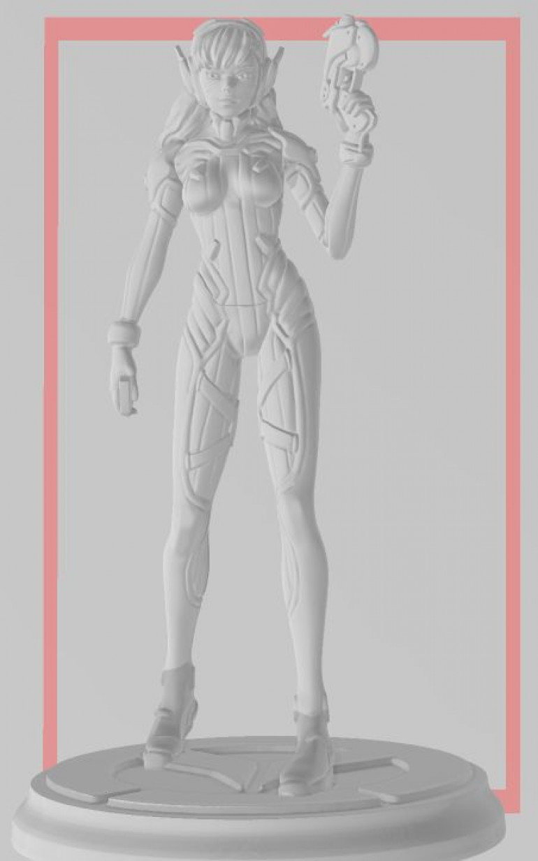 Original designed to print as 90 mm statue (toe to top of the head)