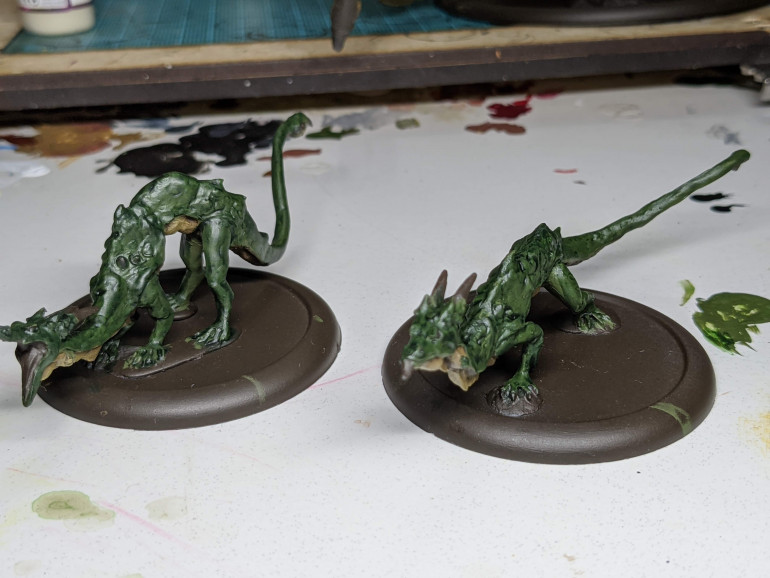 Here are the two juvenile dragons with completed bellies and the green done, bar highlighting