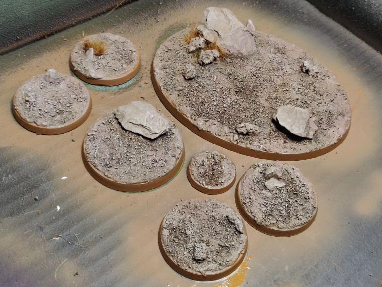 Bases ready for the models to be superglued on