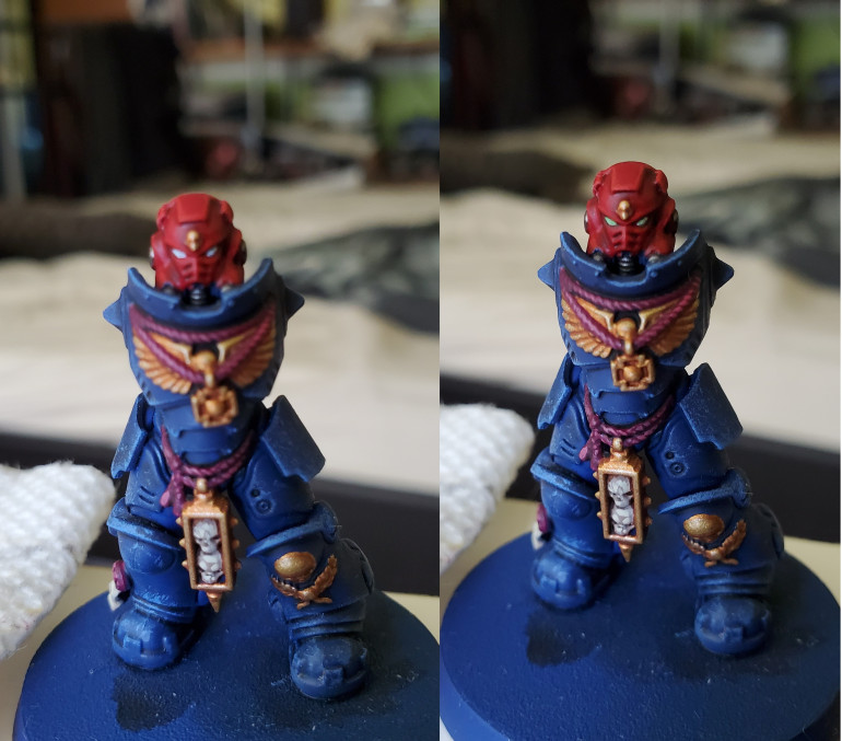 The eyes really bring out a mini, as we all know, but can often by a pain to do. This is a trick I learned a while ago for Marine eye lenses. Simply paint a line as best you can in the eye with white, then add a glaze colour over the top of it. Add some extra coats once it's dry if you want a more vibrant colour. Here I used Waywatcher Green for my Sergeant, but the regular Marines were given a coat of Bloodletter.