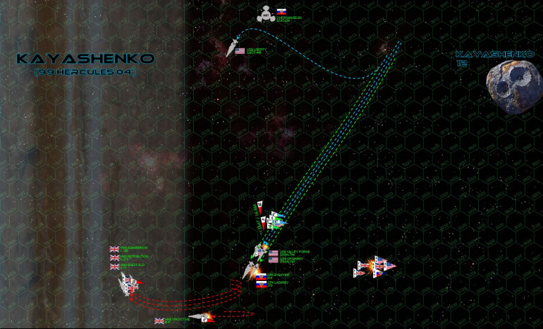 And here it is, the movement phase that doomed the Americans in the Third Hercules War and damned near KILLED two of the game's most famous ships.  The British have moved first (lost initiative), jack-knifing back and ducking back into the clouds of Kayashenko.  The decision is a chancy one, braving the gravity and lightning to keep the range open on the Coalition warships and hit them with a broadside as they race forward.  Although previously decelerating, the Russians and Americans now RE-accelerate, hoping to close the range with the British as soon as humanly possible.  Their speed, however, combined with Kayashenko's merciless gravity, leave them only one option for a starboard turn if they want to stay in the battle.  The destroyer Sykerya doesn't have to worry about that choice.  Already damaged by the British forward batteries last turn, she is smashed open so hard by the second volley (now a complete broadside) that she loses power and careens off the table anyway, crippled and out of control.  The Lazarev, Oriskany, and Valley Forge, meanwhile, are in desperate trouble already ... even if they don't already know it.  At least the British aerospace strike largely fails, a single Supermarine Starfire's missile hits USS Oriskany astern ... but that's a hit that will be telling later. Meanwhile, all forward Russian and American guns tear into the carrier HMS Valiant, inflicting such damage that Cavendish elects to order her out of the battle area.  Note where USS Liberty is, near the top of the pic.  THAT'S where the Russians and Americans should have ALL gone, weathering one more British broadside at longer range against their enhanced shielding, all while hammering the British with their far stronger aerospace strike coming up ...