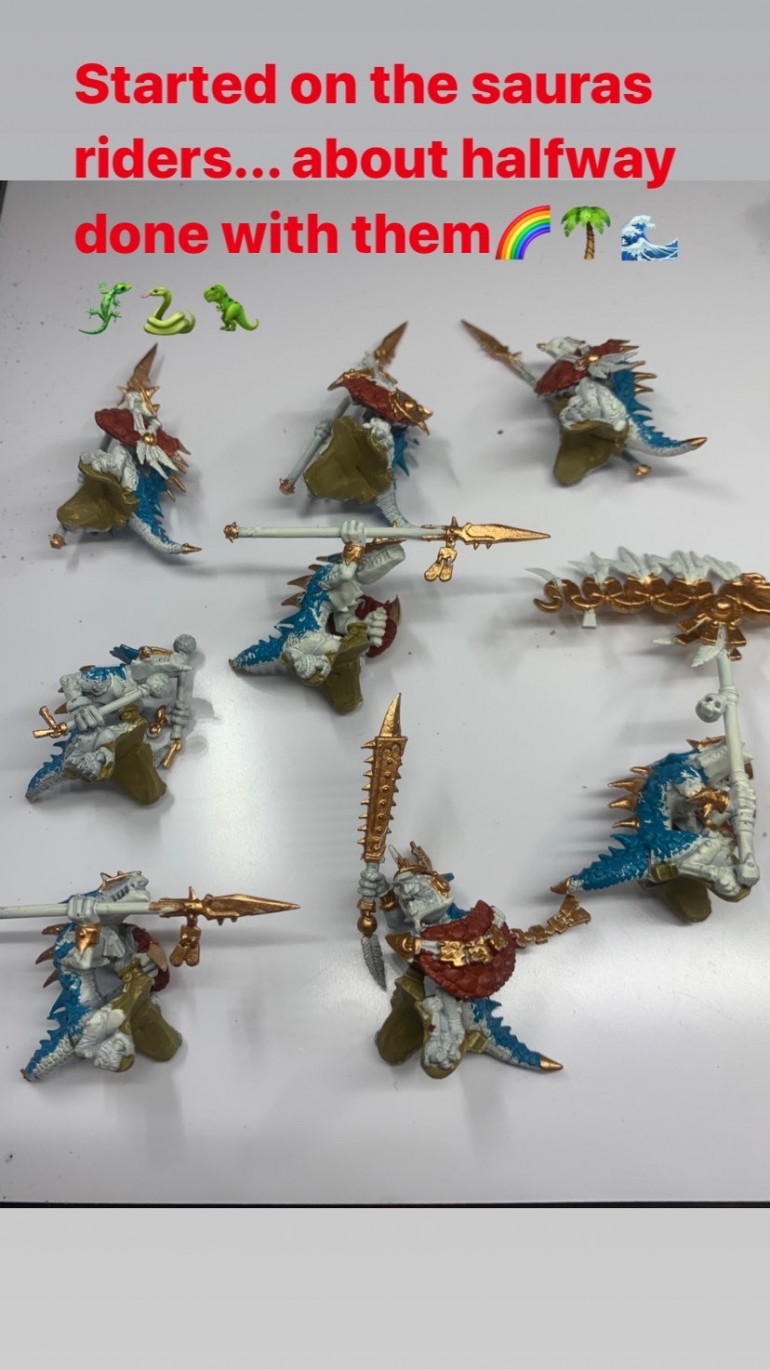 Saurus riders... Where I had to stop after 21+ hours of painting in one go.