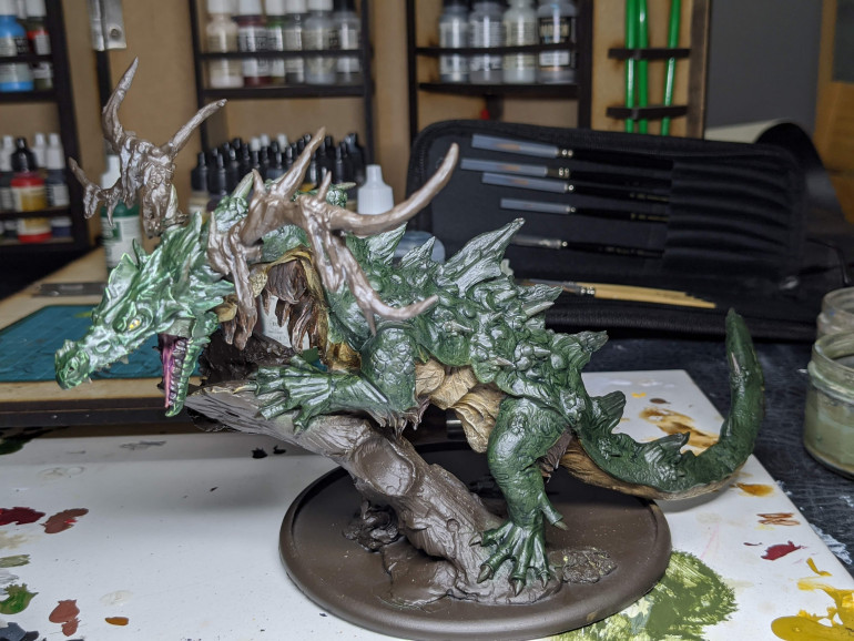 The big dragon, painted green and washed with creed camo