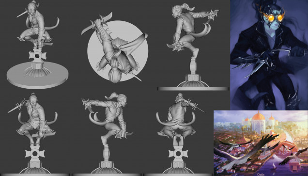 His sculpt, card art, and a depiction of Ostia the city from where the Shadow faction are rumoured to be based
