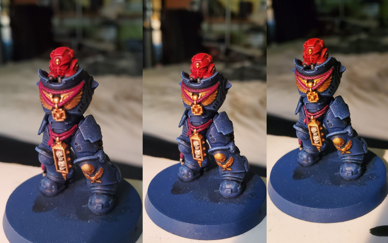 Rope details and Purity Seals were all done in a nice burgandy colour that I am rather fond of. Starting with a basecoat of Screamer Pink, the areas were then shaded with Nuln Oil and edge highlighted with Pink Horror. Simple, but really adds a bit of regal flair to the minis.
