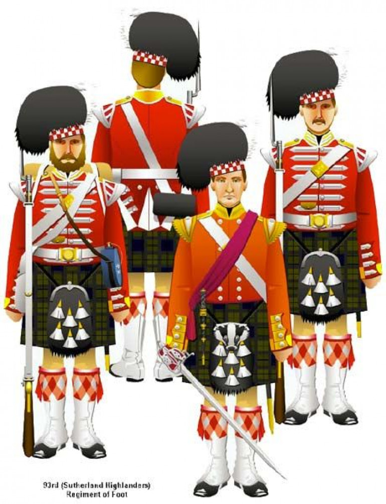 Artwork depicting the 93rd wearing their earlier uniforms such as they would have worn at the Battle of Balaclava. These types of drawings are very useful for helping with the tartan.