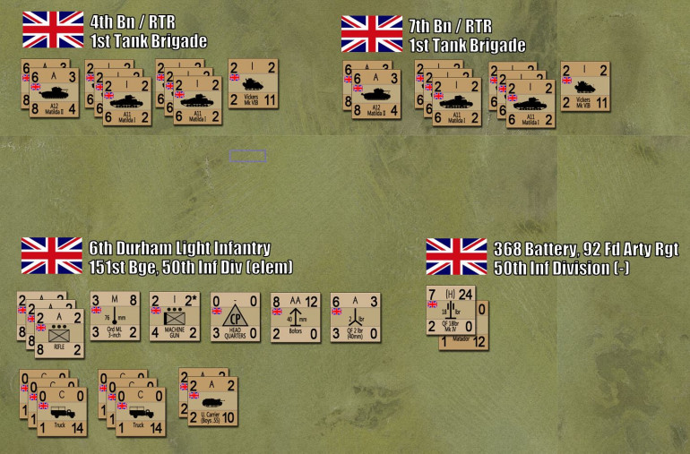 British forces for the game, including what the 1st Armored Brigade (4th and 7th RTR) actually had that day.  We also have a small part of the 6th Durham Light Infantry (most of the battalion was engaged further east), and a battery of artillery that was supporting 6th DLI.