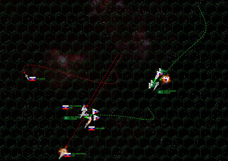 """Dokhturov now raises maximum steam, making flank speed (as best she can) to break high orbit and get out of the battle area.  The League is determined she won't escape, however, and finally have crippled her with a broadside from the Jeddah after she has jackknifed to starboard, nearly colliding with the light fleet carrier Ivanishin in the process.  The Dokhturov careens out to space, her bridge afire and commander badly wounded.  The scrappy little K-273 has pivoted as well, slinging out a third hail of P-500 torpedoes which target the stern of the Jeddah along with most of the remaining Russian MiGs and scouts.  The Jeddah is likewise crippled ... only by the LUCKIEST of hits (I needed a """"6"""" on a d6 to cripple her and nailed it), and she will BARELY miss colliding with the tiny asteroid moon about 3000 kilometers ahead, JUST off her port bow.  The Russians also launch a torpedo and fighter strafing attack against the Kashan.  The MiG pilots hoped those torpedoes from the Ivanishin would occupy Arab point defense, allowing them a clear attack run.  They were wrong, League fighters took care of the torpedoes which meant the MiGs took heavy losses on the way in.  But the survivors pressed home the attack, savaging the wounded stern of the Kashan until they crippled her as well."""