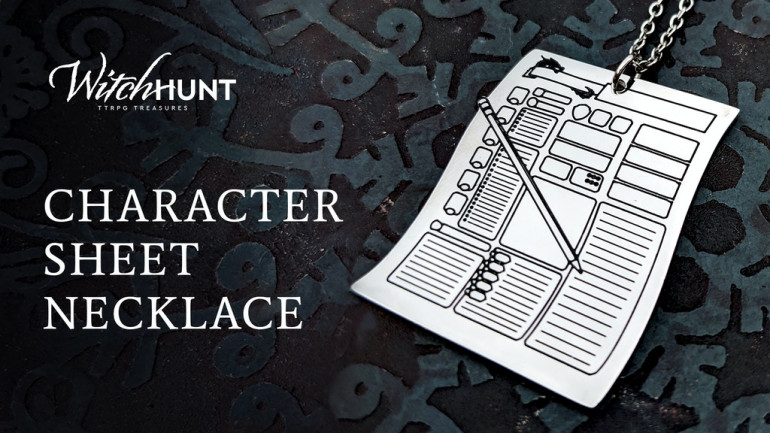 Character Sheet Necklace: Equip your tiniest pen