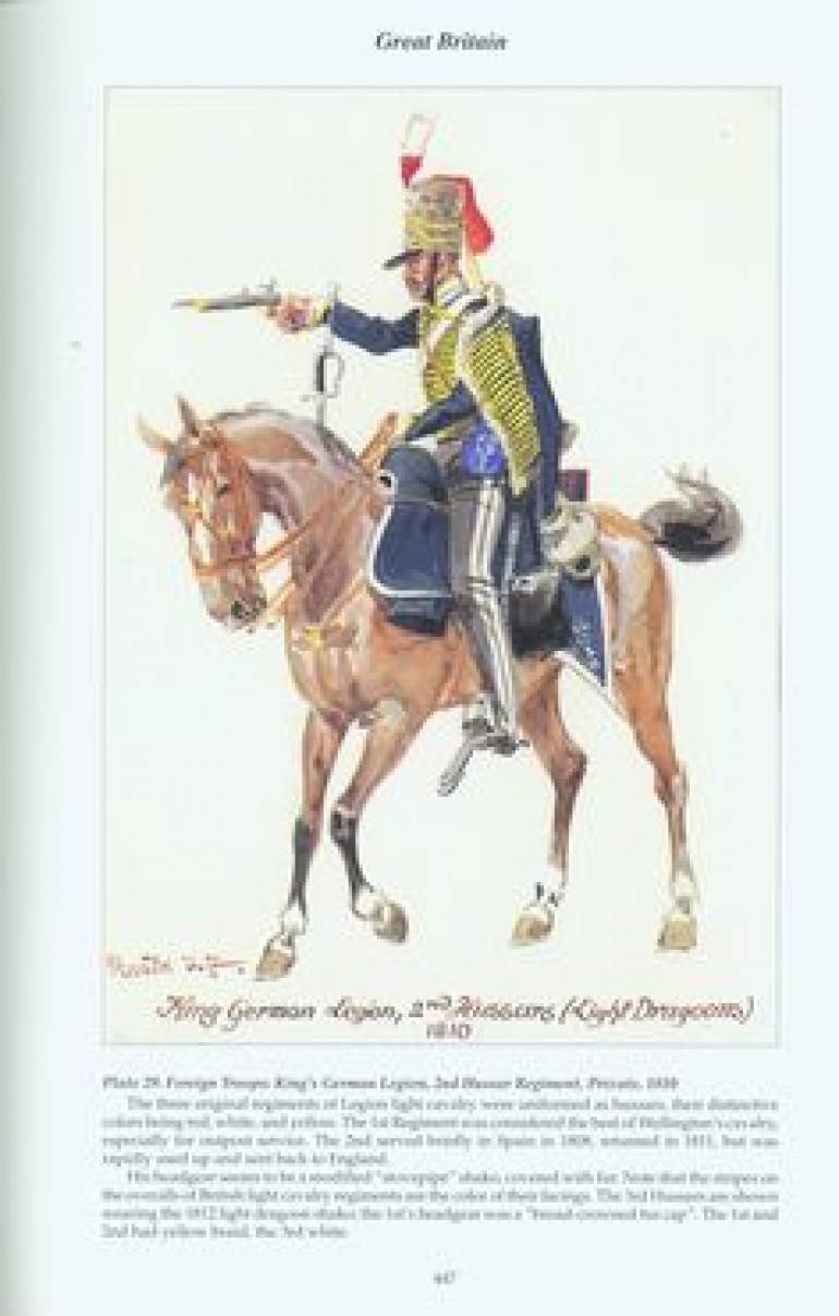 So this picture is almost certainly going to be too small and/or blurry, but it does actually show an officer of the KGL 2nd Hussars, though also calls him a Light Dragoon...which isn't actually correct. But it does show the colours of the cloth and is corroborated by other written sources.