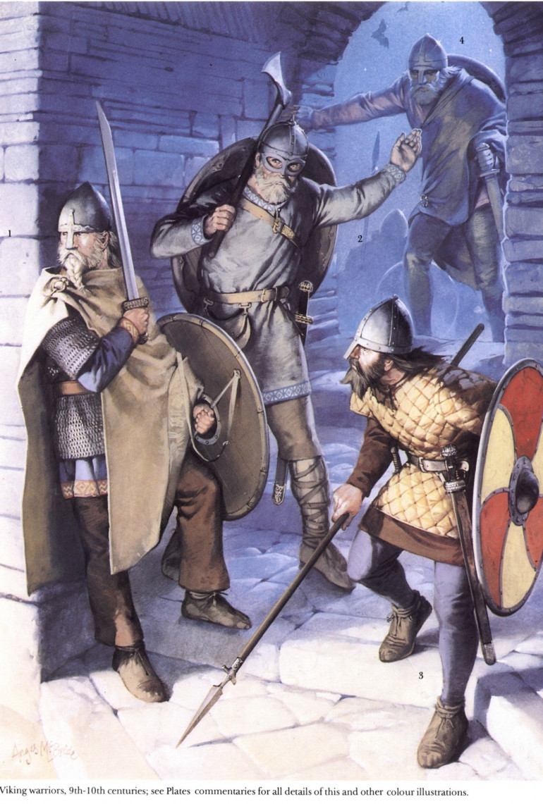 While the images I found for reference are of Viking warriors, the colours are the more important part here. Odin is known to wander the lands as a hermit-like person, so common colours for clothes are the important subjects.