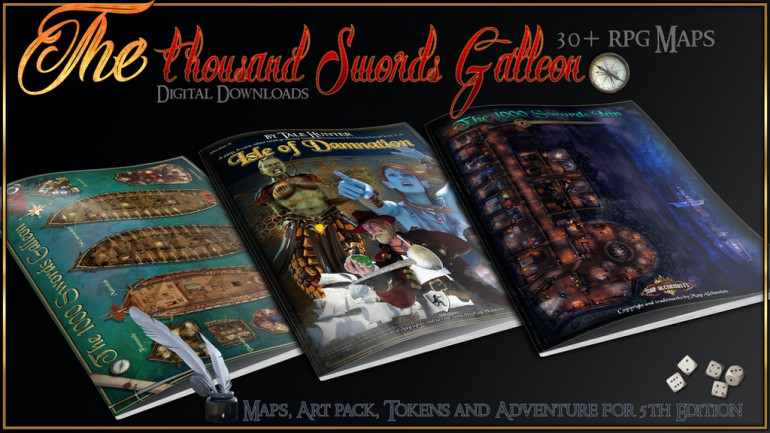 Collection of Rpg Maps, a huge galleon, and 5th ed adventure