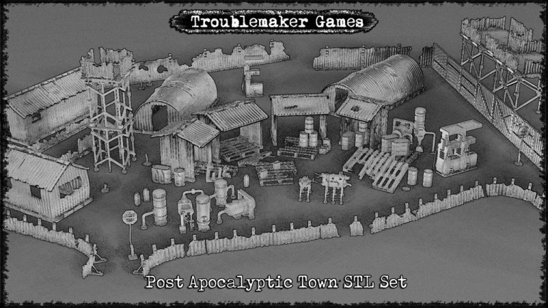 3d Printable STL Post-Apocalypse Town Set 28mm Scale