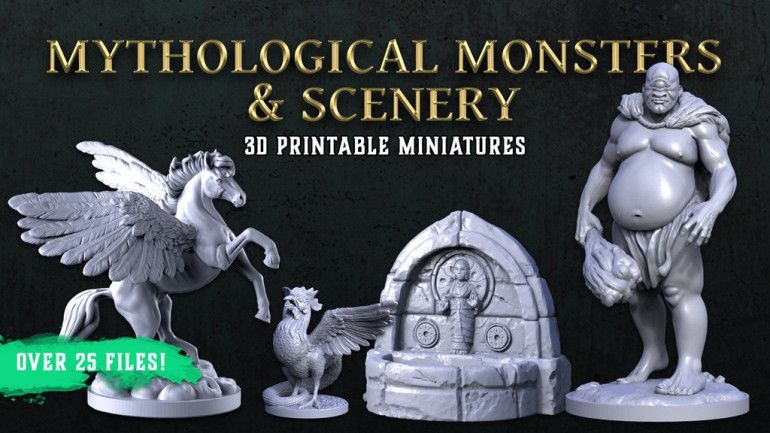 Mythological Monsters & Scenery, 3D Printable STL Miniatures