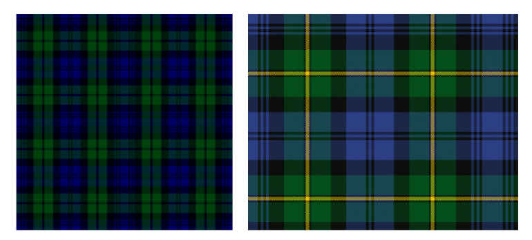 These are the patterns I'm aiming to represent - Black Watch on the left, Gordon Highlanders on the right