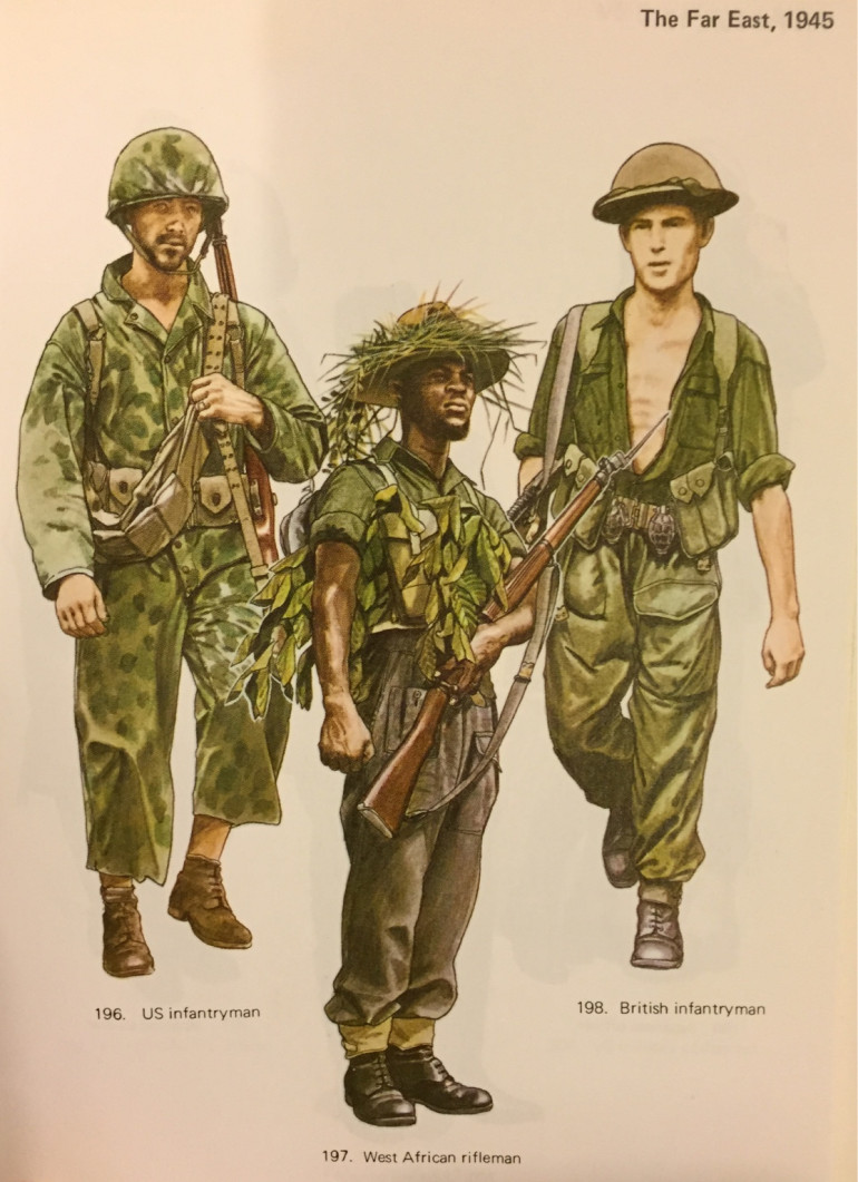 Ignoring the Yank on the left, you can see the colours quite well (this is a definite Osprey image, but the exact book I am unsure of by the by). The slight problem I have is that I have been making my experiments on some troops I am using for the Far East, so the uniform itself is also green, which is a difficult colour to match. Point being, the colour here is more green than brown in hue, so how can I change that on my currently beige minis?