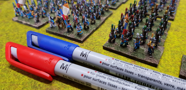 Here are the pens that I have used to carefully colour the edges. Go carefully and make sure the flag is dry or the ink will spread.