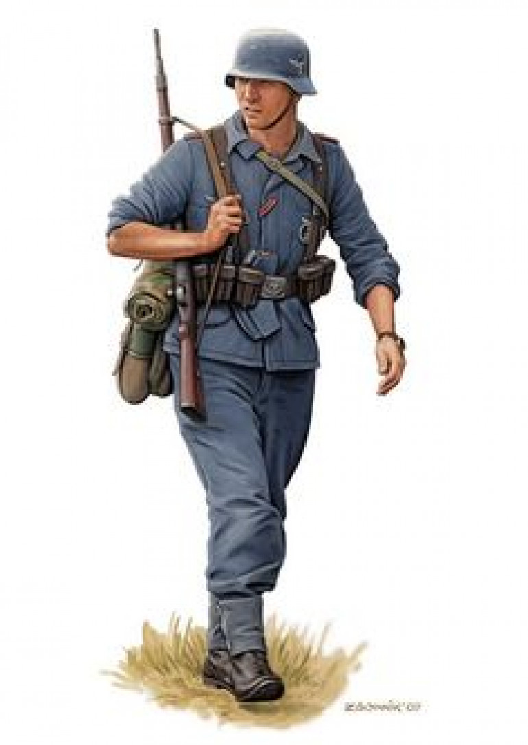 The general colours of Officers and ORs in the Luftwaffe are the same, and this (almost certainly Osprey) art nicely agrees with the colour of Klink's uniform which is always useful. Made my initial choice of The Fang from GW my final choice after double checking.