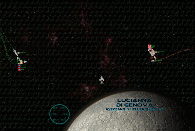 """The two fleets meet at the second moon of the Avezzano planet (99 Hercules Gamma-2), roughly the size of the planet Mercury, named Lucianna di Genoa for a duchess of terrestrial Italy.  Although gigantic, the Leo Magnus is surprisingly fast for a ship her size, her guns pin-point accurate and heavily upgraded in hitting power and range.  In short, a single hit from her 21-teravolt EPCs and 90 eHz syglex emitters can cleave clean through the armor of a light cruiser, even at a range of over 9500 kilometers (the distance between London and Capetown, a fact she quickly brings home to the hapless light cruiser Sendai Byo.  Even here, at the comfortable """"medium"""" range of 5000+ km, she carves open Sendai Byo's port bow like a Christmas turkey, instantly hitting magazines, burning mass driver turrets out of the hull, smashing open torpedo bays, crippling sensor suites and incinerating maneuvering thrusters.  It's frankly pure luck that spares Sendai Byo's bridge, otherwise the 83,000 ton cruiser would be smacked out of the battle in the opening salvo.  The British and Japanese respond, aiming guns at the little K-98.  At this range the 15,000-ton corvette is almost impossible to hit, but these British and Japanese crews are expert shots, and K-98 is crippled.  It seems like a small victory, but the K-98 has twelve P-500 torpedo tubes, double-upgraded with the most advanced electronic warfare suites anywhere in the Holy Russian Empire.  With that battleship to deal with, the last thing these cruisers need to worry about is swarms of Russian torpedoes, too."""