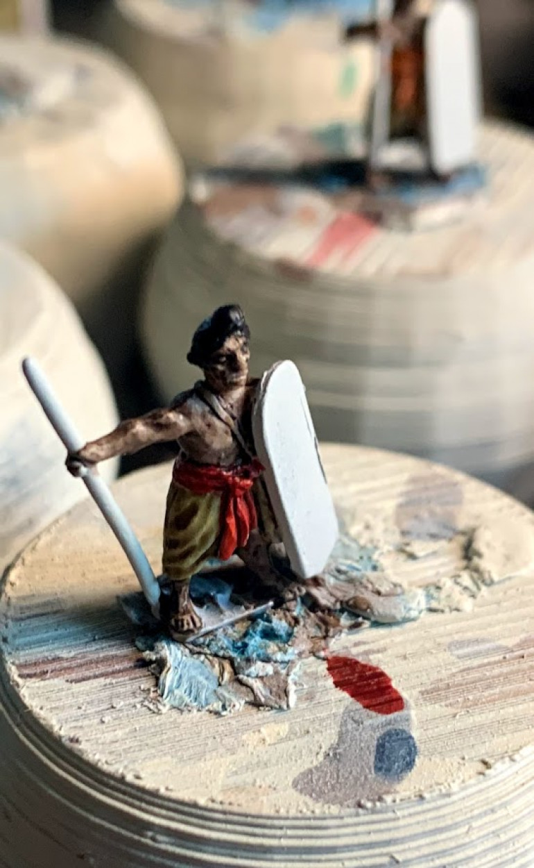 Here is a partially done mini with the contrast mixture.