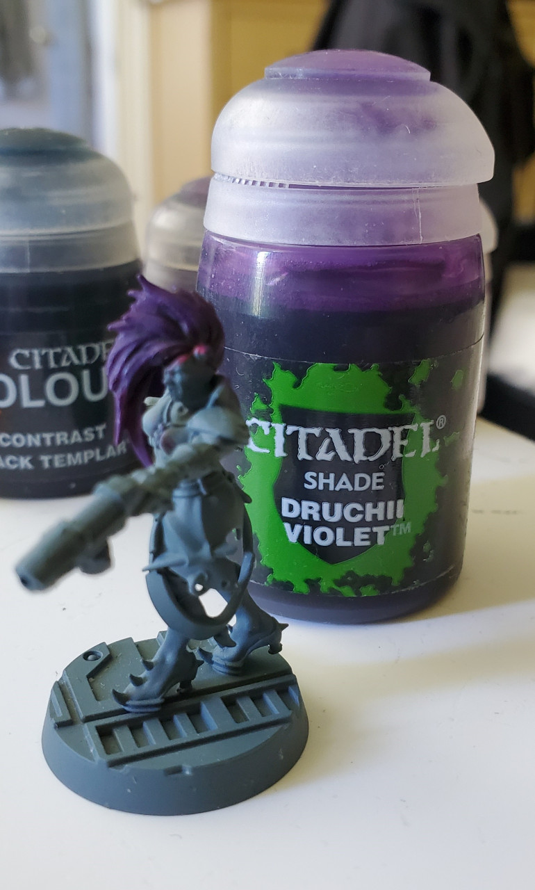 Then shaded back again with Druchii Violet. If you're repeating this method, just skip the fist Druchii Violet step.