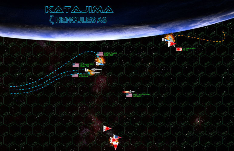 """As the Daggerfish spirals burning across the Katajima sky, the rest """"Battlegroup Cowpens"""" presses the attack.  For a moment there is hope, the remaining American torpedoes streak toward the Takakawa, which only knocks a few of them down with her mass drivers.  Japanese Ki-202"""